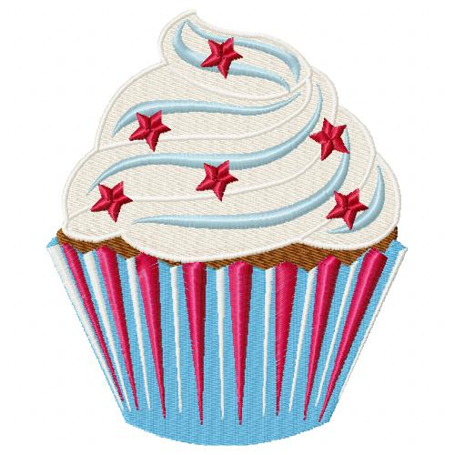 Patriotic Cupcake Machine Embroidery Design Single